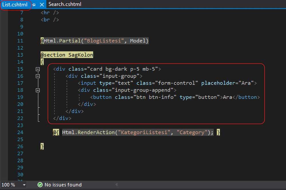 asp.net mvc teknoloji bloğu - List.cshtml dosyasında blog arama kutuları ile ilgili kodların silinmeden önceki hali