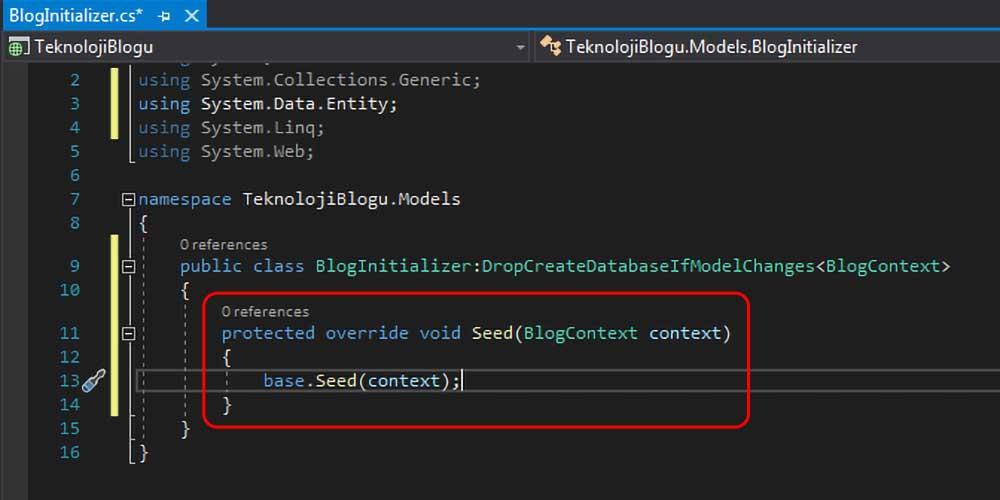 asp.net mvc teknoloji bloğu - Seed metodu