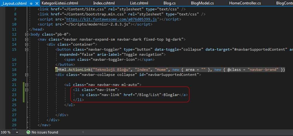 asp.net mvc teknoloji bloğu - Bloglar menüsünü _Layout.cshtml dosyasına yerleştirme