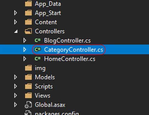 asp.net mvc teknoloji bloğu - CategoryController.cs dosyası açılış yeri
