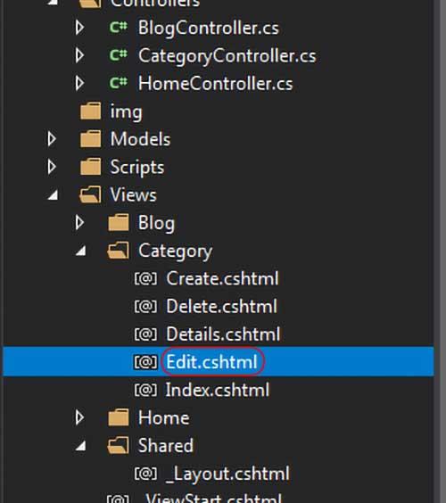 asp.net mvc teknoloji bloğu - category klasörü altındaki edit.cshtml'in solution explorer'daki yeri