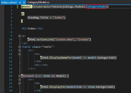 asp.net mvc teknoloji bloğu - index sayfasının modelini CategoryModel yapma