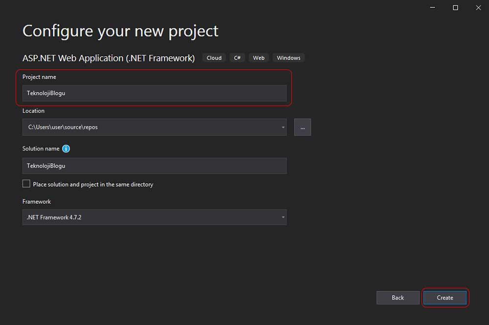 asp.net mvc teknoloji bloğu - projeye isim verme ekranı