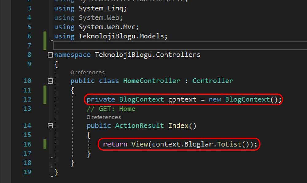 asp.net mvc teknoloji bloğu - context nesnesi aracılığıyla tüm nesneleri index view'e gönderme