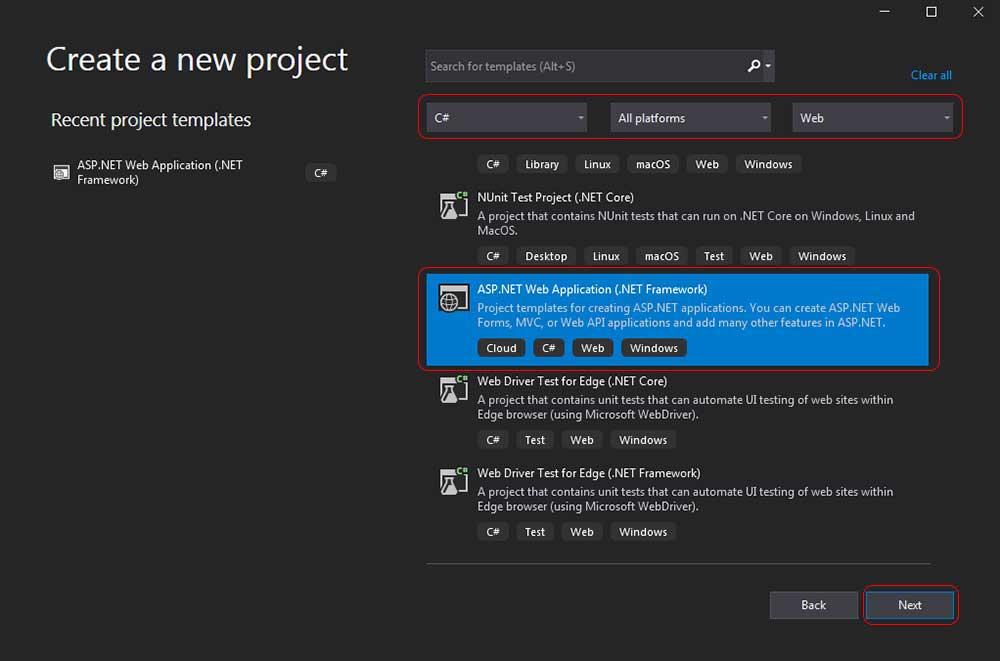asp.net mvc teknoloji bloğu - create a new project ekranı