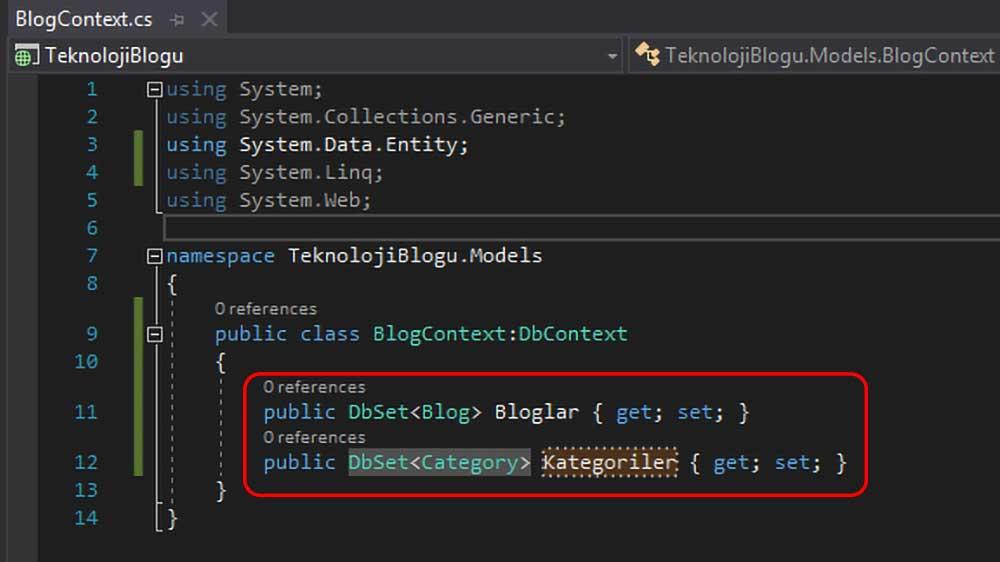 asp.net mvc teknoloji bloğu - BlogContext sınıfına entity sınıflarının eklenmesi