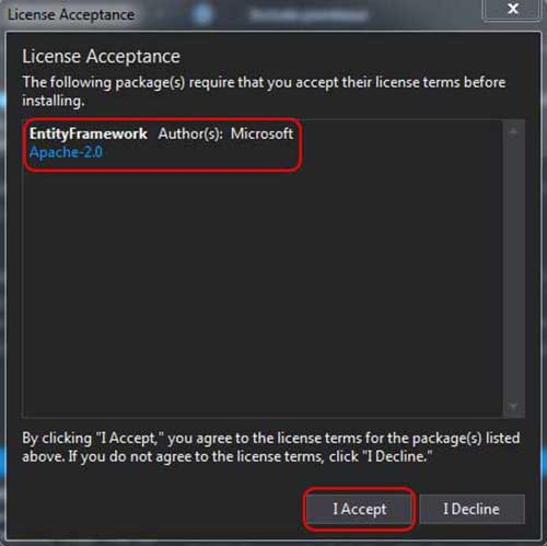 asp.net mvc teknoloji bloğu - Entity Framework NuGet Package Manager Licence Penceresi