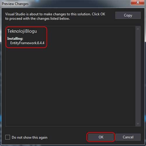 asp.net mvc teknoloji bloğu - NuGet Package Manager Preview Changes penceresi