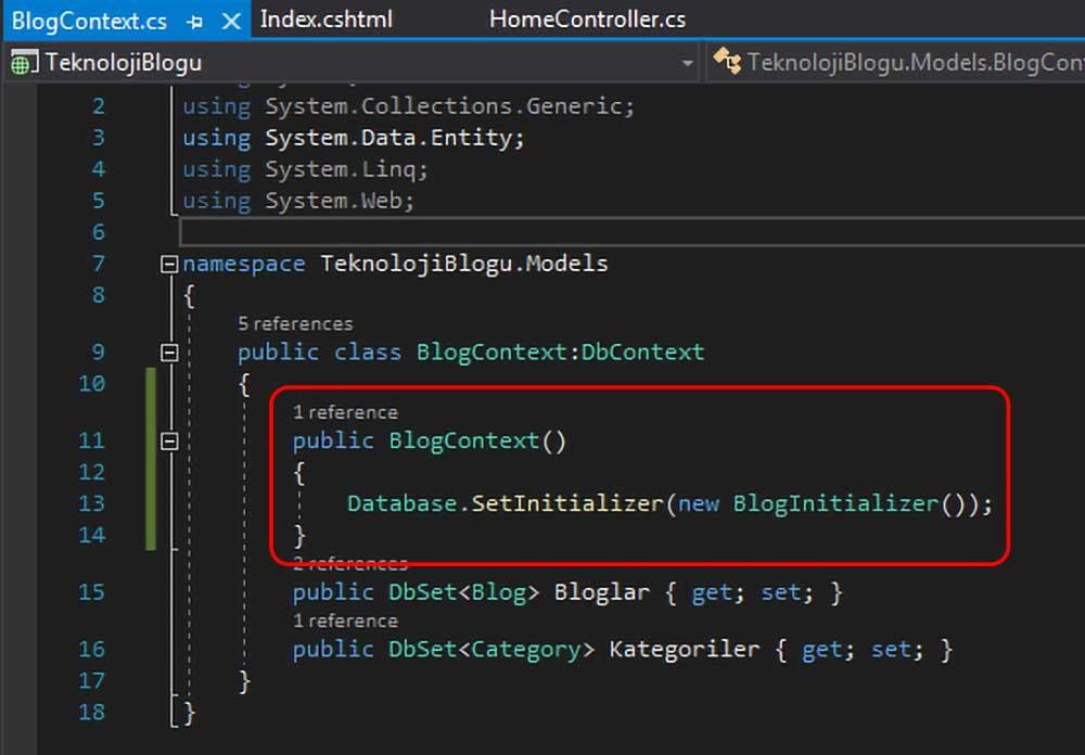 asp.net mvc teknoloji bloğu - BlogContext sınıfının içerisine Database.SetInitializer metodunu ekleme