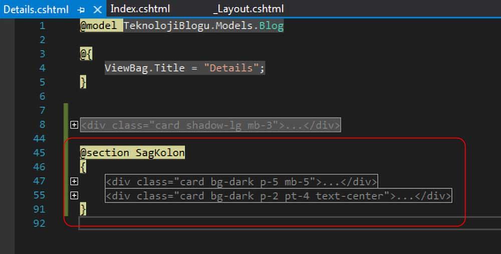 asp.net mvc teknoloji bloğu - blog klasörü altındaki details.cshtml dosyasında SagKolon section'ınını sayfaya yerleştirme