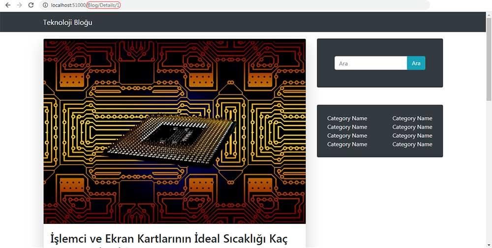asp.net mvc teknoloji bloğu - /Blog/Details sayfasının SagKolon section eklendikten sonraki tarayıcı görüntüsü
