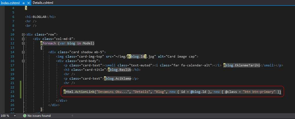 asp.net mvc teknoloji bloğu - Devamını Oku butonunu HtmlAction metoduyla /Blog/Details sayfasına yönlendirme