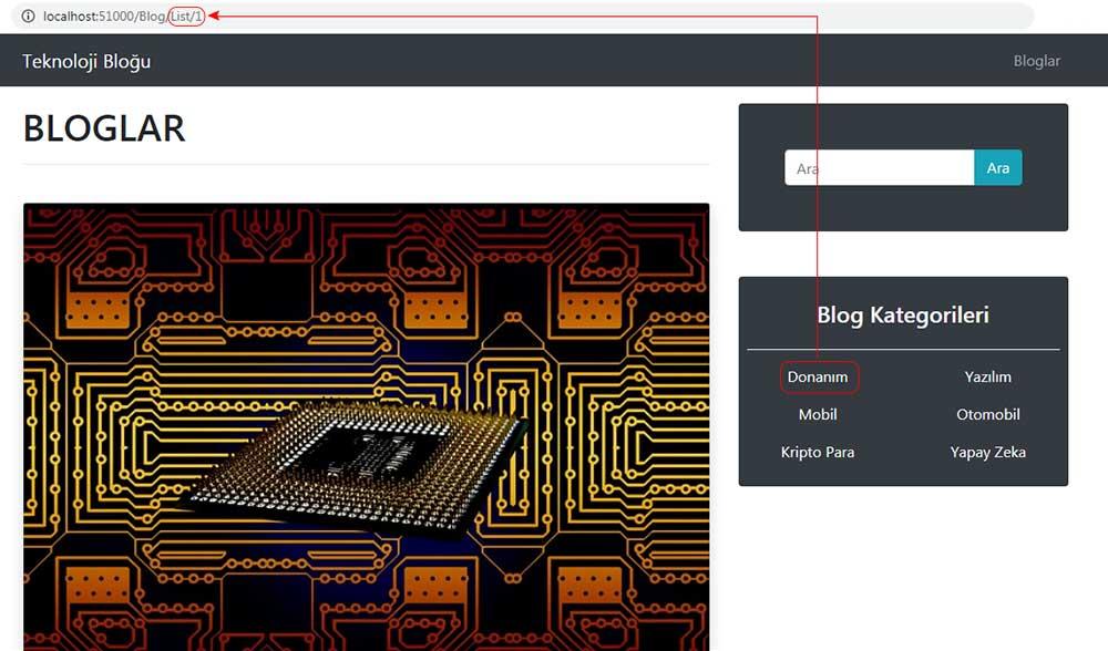 asp.net mvc teknoloji bloğu - donanım kategorisine tıklama