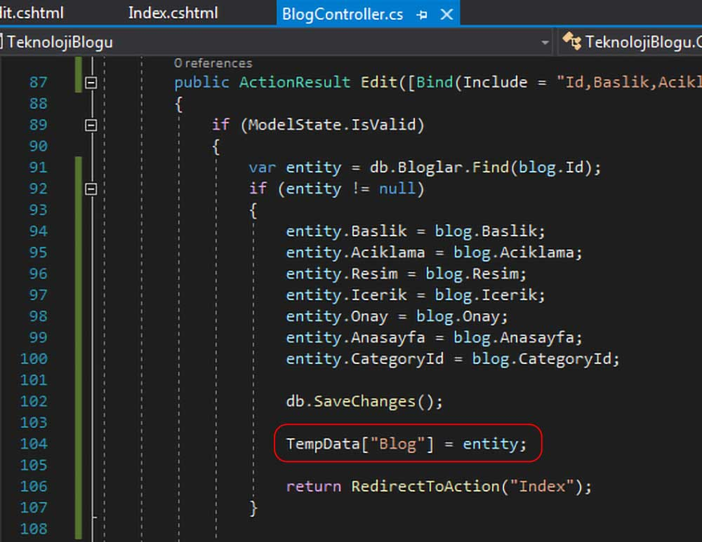 """asp.net mvc teknoloji bloğu - Edit action metodunda TempData[""""""""] nın belirtilmesi"""