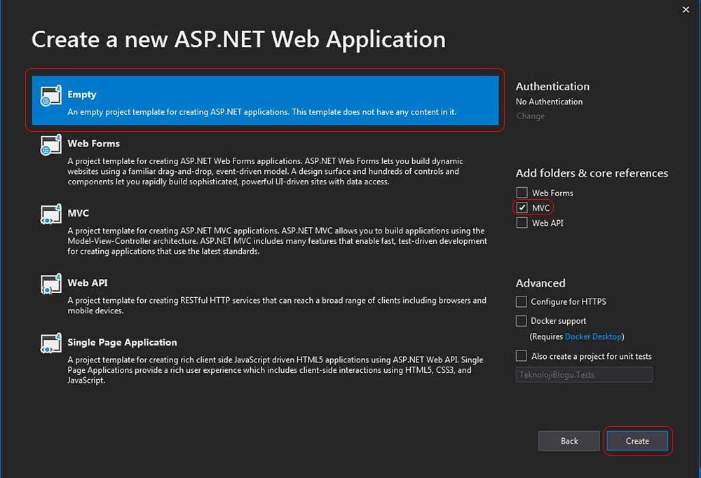 asp.net mvc teknoloji bloğu - empty template ekranı