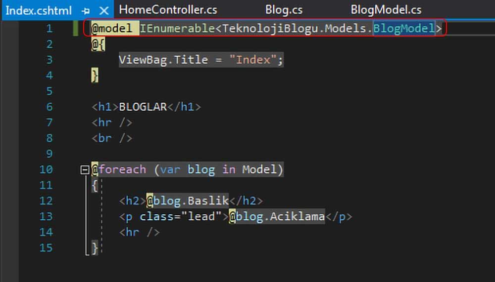 asp.net mvc teknoloji bloğu - index sayfasının beklediği modelin tipini BlogModel olarak değiştirme