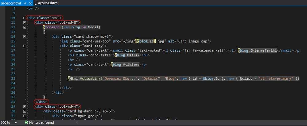 asp.net mvc teknoloji bloğu - Home klasörü altındaki Index.cshtml dosyasında .row, .col-md-4 ve .col-md-8 sınıfına sahip olan div'lerin açılış ve kapanış etiketlerinin silinmesi-1
