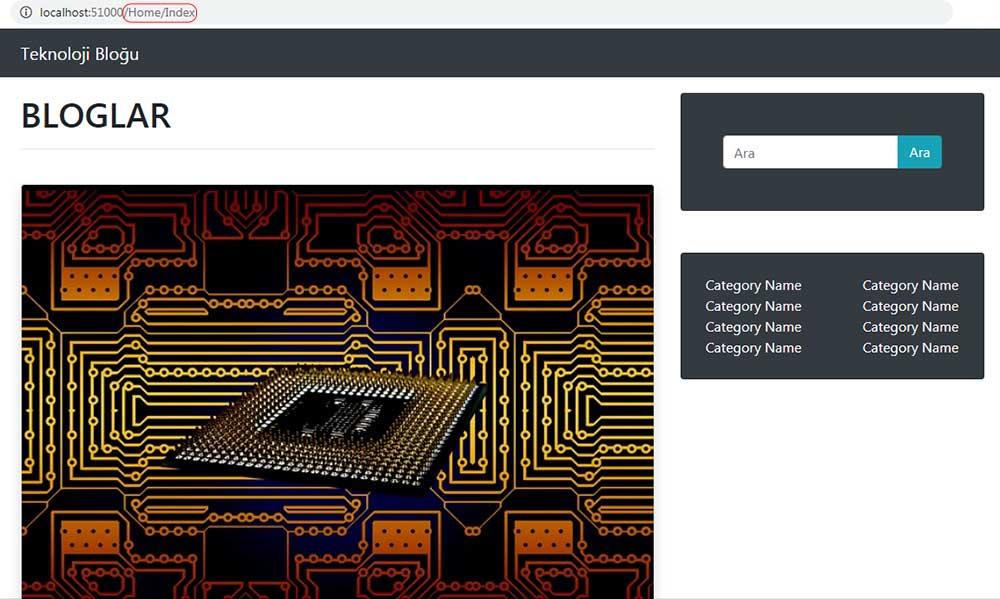 asp.net mvc teknoloji bloğu - Home/Index sayfasının SagKolon section'ı eklendikten sonraki tarayıcı görüntüsü