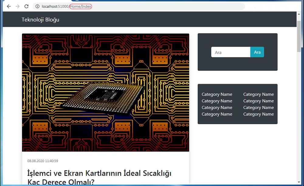 asp.net mvc teknoloji bloğu - Home/Index sayfasının tarayıcı görüntüsü