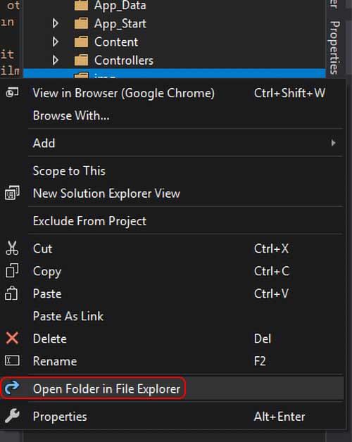 asp.net mvc teknoloji bloğu - open folder in file explorer