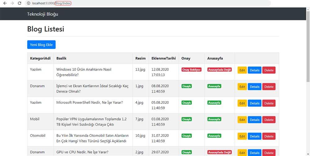 asp.net mvc teknoloji bloğu - SagKolon section'ının eklenmediği sayfa olan /Blog/Index sayfasının tarayıcı görüntüsü