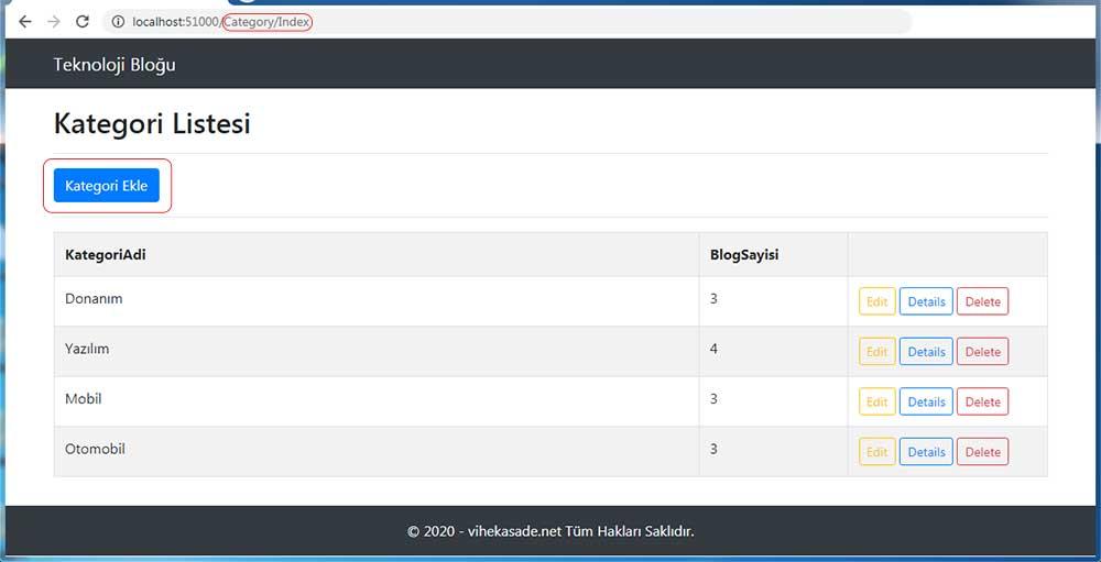asp.net mvc teknoloji bloğu - kategori ekleme butonuna basmamız gerektiğini belirten resim
