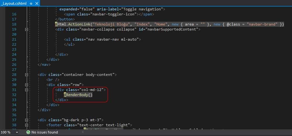 asp.net mvc teknoloji bloğu - _Layout.cshtmml dosyasında .row sınıfına sahip olan div içerisinde bulunan eski kodlar
