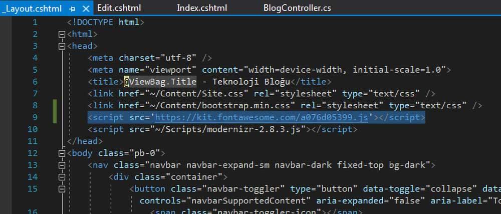 asp.net mvc teknoloji bloğu - _Layout.cshtml dosyasına font awesome kütüphanesi için script kodunu ekleme