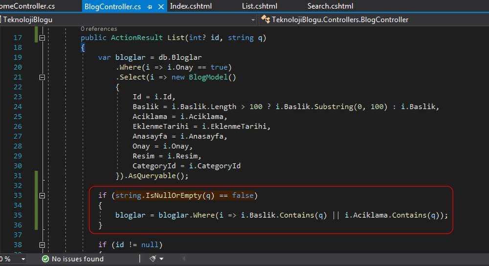 asp.net mvc teknoloji bloğu - List action metoduna filtreleme işlemi için gerekeli kodların yerleştirilmesi