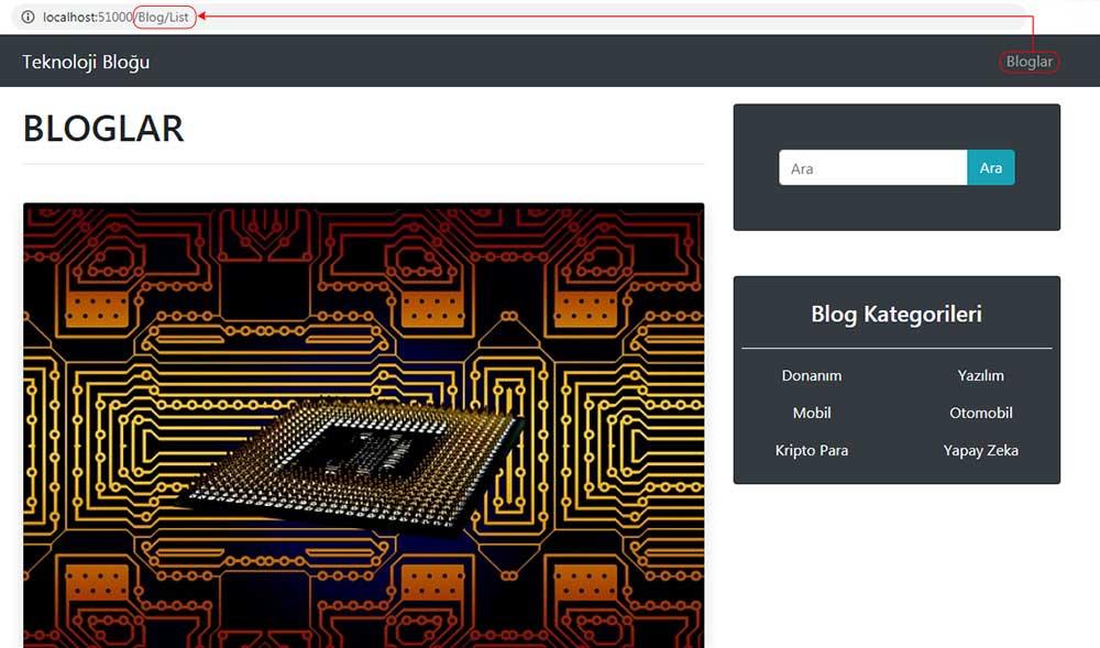 asp.net mvc teknoloji bloğu - Bloglar navbar menüsüne tıklandığında tarayıcıda oluşan görüntü
