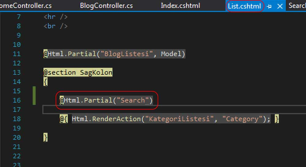 asp.net mvc teknoloji bloğu - List.cshtml dosyasına Search view'ini HTML.Partial metodu ile getirdik