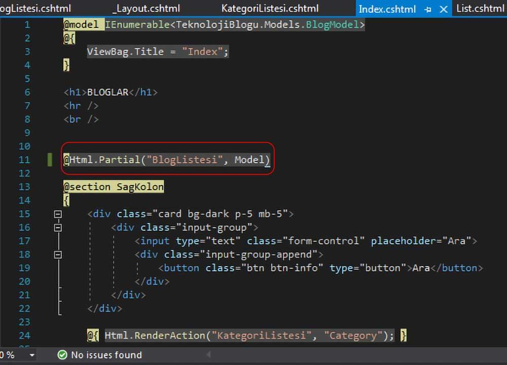 asp.net mvc teknoloji bloğu - Index.cshtml dosyasında blog listesini Html.Partial metoduyla gösterme