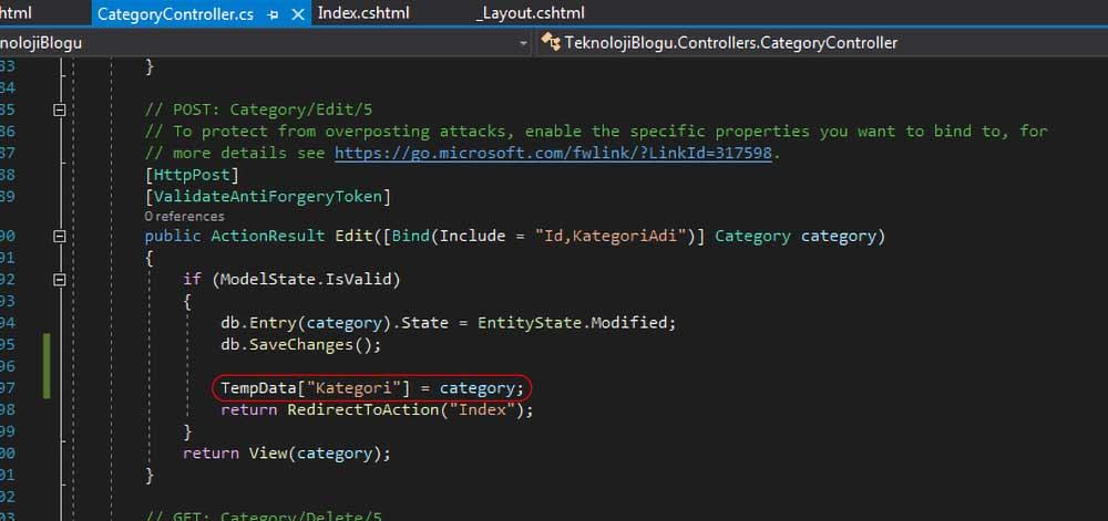 asp.net mvc teknoloji bloğu - post edit action metodunda TempData'nın belirtilmesi