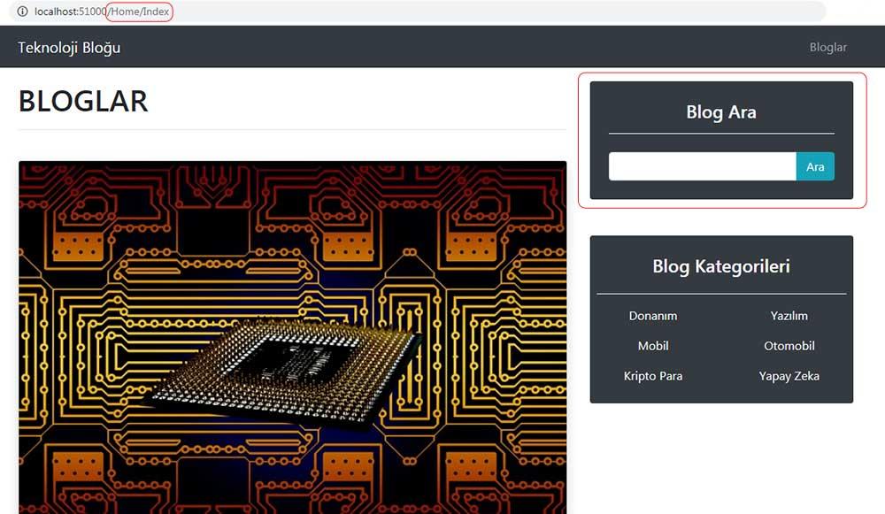 asp.net mvc teknoloji bloğu - Html.Partial ile arama kutusunu getirdikten sonra /Home/Index sayfasında kontrol etme