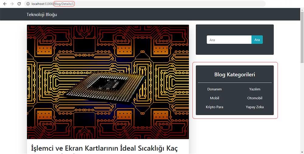 asp.net mvc teknoloji bloğu - RenderAction metoduyla oluşturulan kategori menüsünü /Blog/Details sayfasında kontrol etme