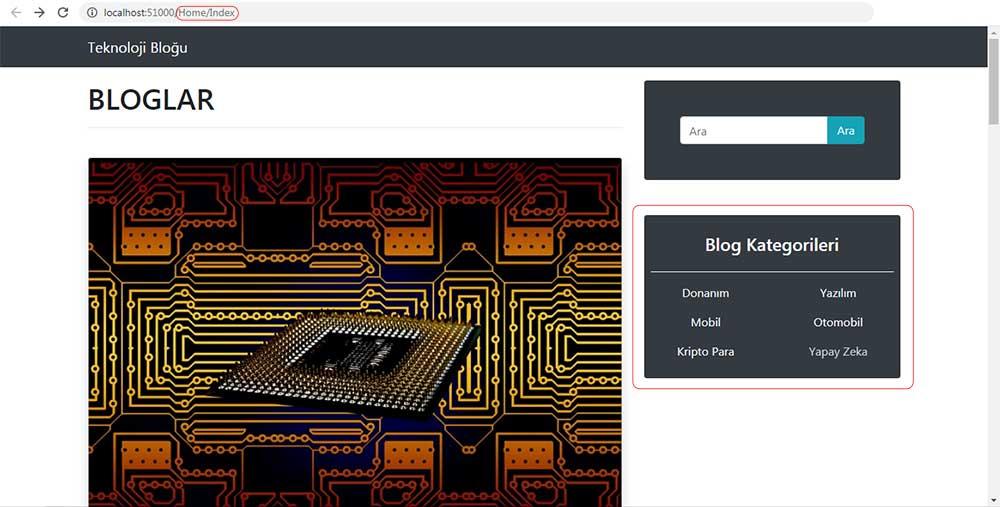 asp.net mvc teknoloji bloğu - RenderAction metoduyla oluşturulan kategori menüsünü /Home/Index sayfasında kontrol etme