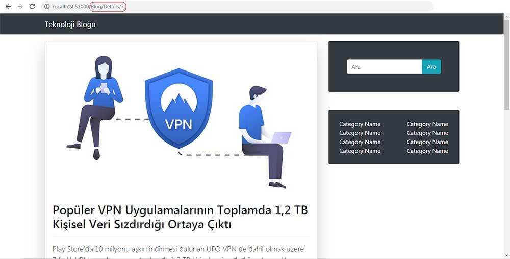 asp.net mvc teknoloji bloğu - vpn bloğuna ait olan Devamını Oku butonuna tıkladıktan sonra bizi yönlendirdiği bloğa ait olan /Blog/Details sayfası