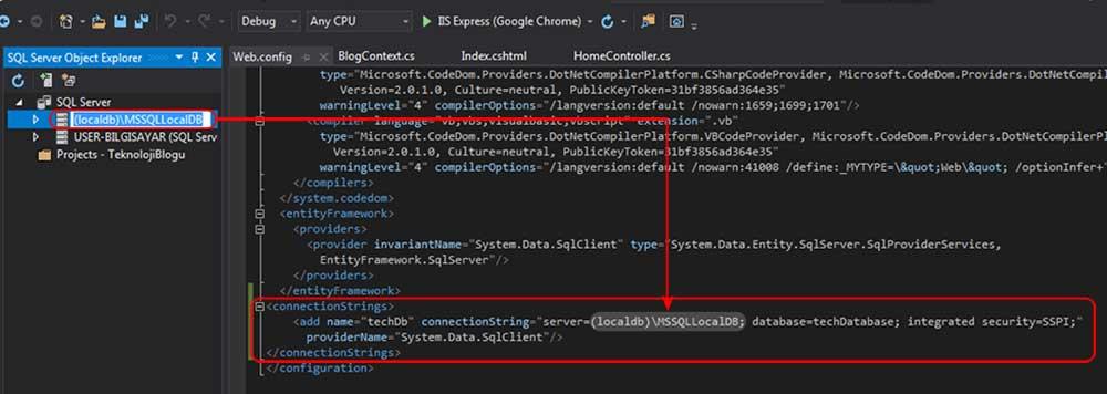 asp.net mvc teknoloji bloğu - web config dosyasına eklediğimiz connection string