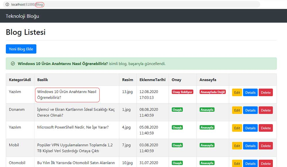 asp.net mvc teknoloji bloğu - güncellenen bloğun /Blog/Index sayfasında alert kutusunda mesajla gösterilmesi