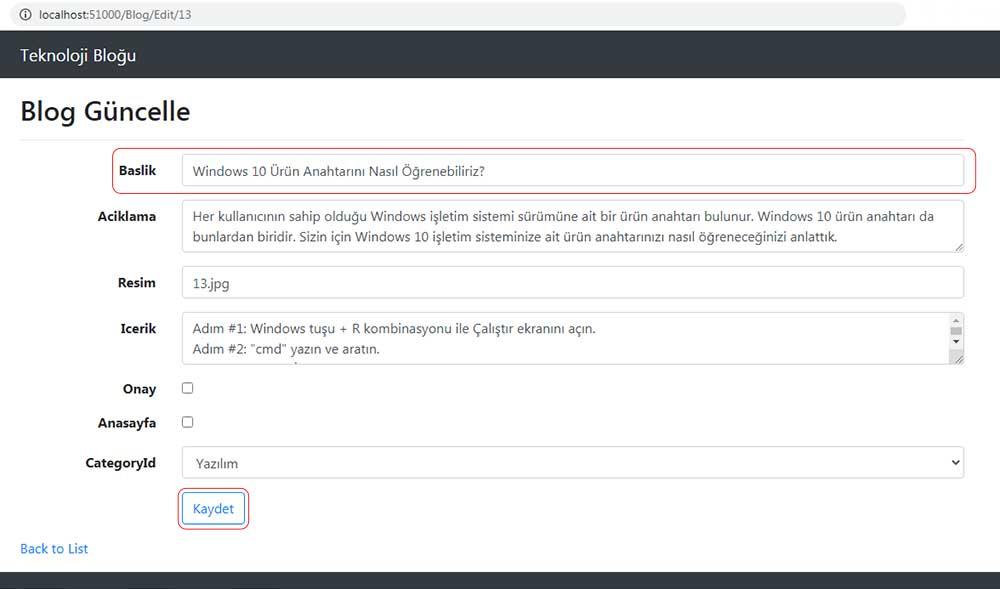 asp.net mvc teknoloji bloğu - TempData ile güncellendiği gösterilecek olan bloğun form üzerindeki görüntüsü