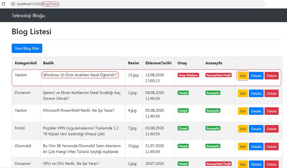 asp.net mvc teknoloji bloğu - TempData ile bir verinin güncellemeden önceki hali