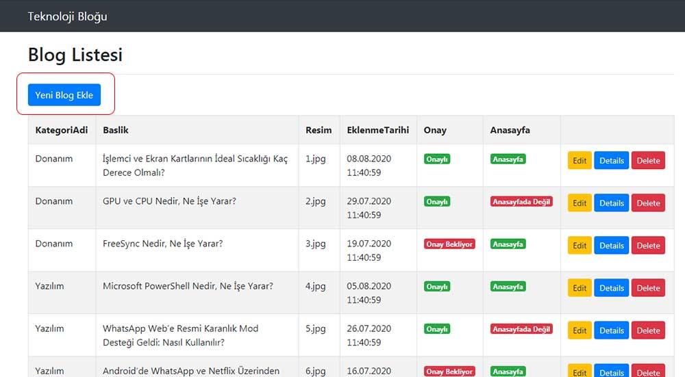 asp.net mvc teknoloji bloğu - yeni blog ekle butonuna basacağımızı belirten resim