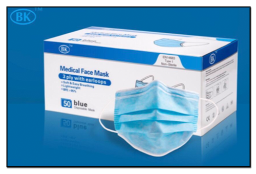 medical 3-ply disposable PPE mask