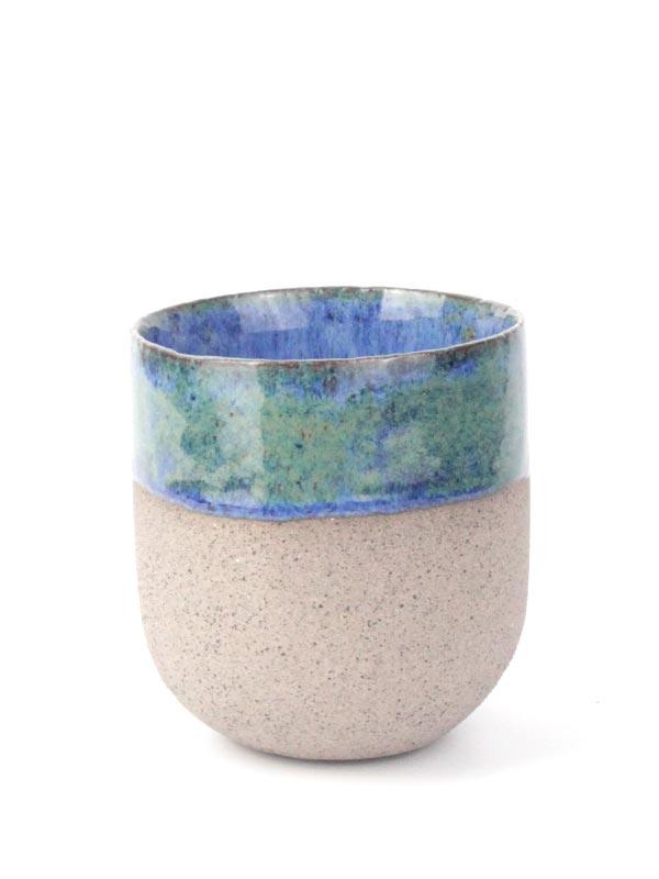 El yapımı stoneware kahve fincanı
