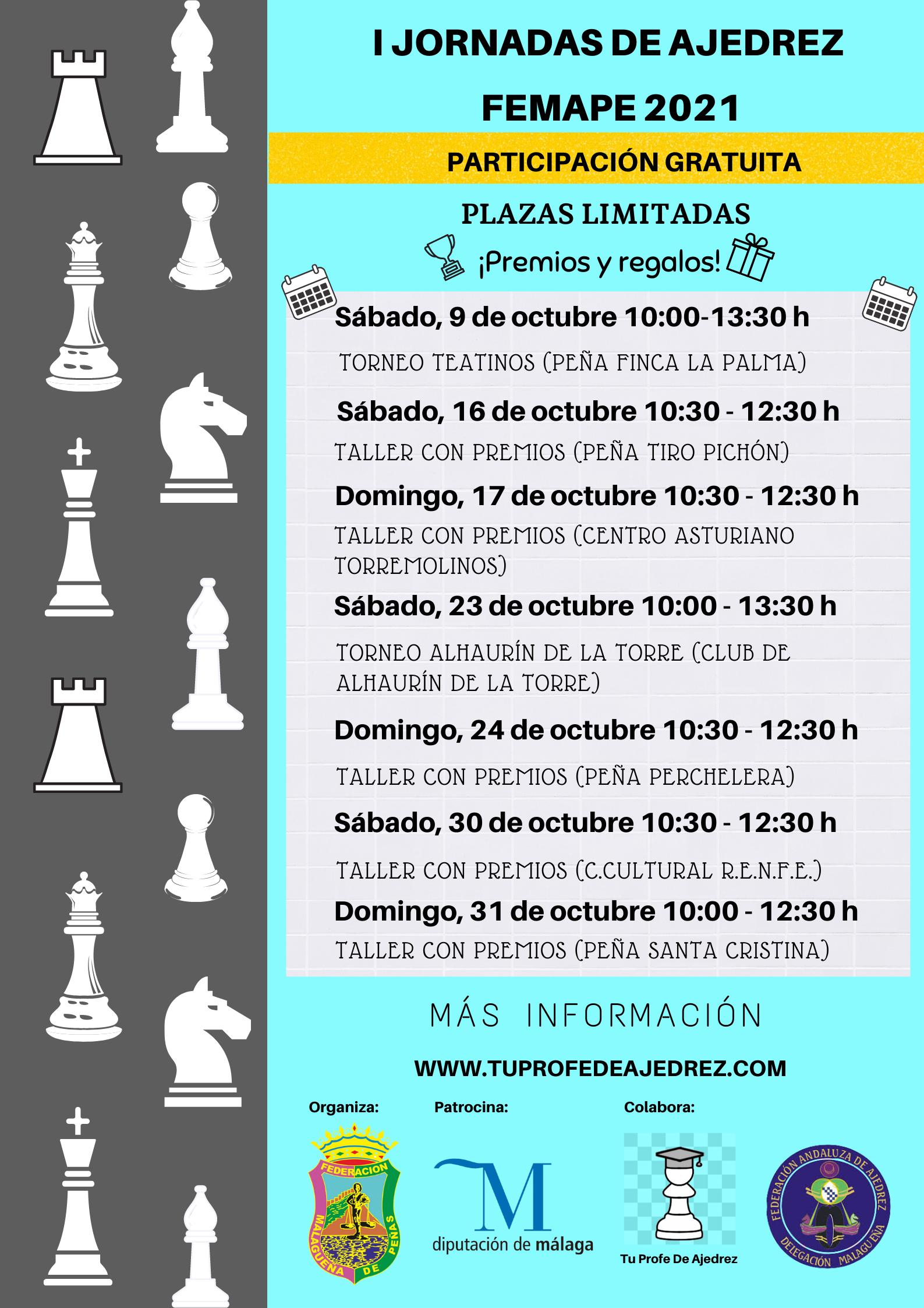 Cartel I Jornadas de Ajedrez FEMAPE 2021