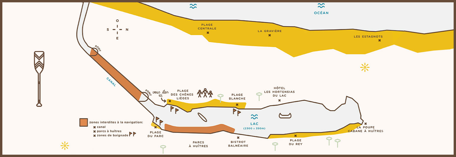 une carte en illustration du lac d'hossegor et la localisation de la cabane de location de paddle et kayak la pagaye
