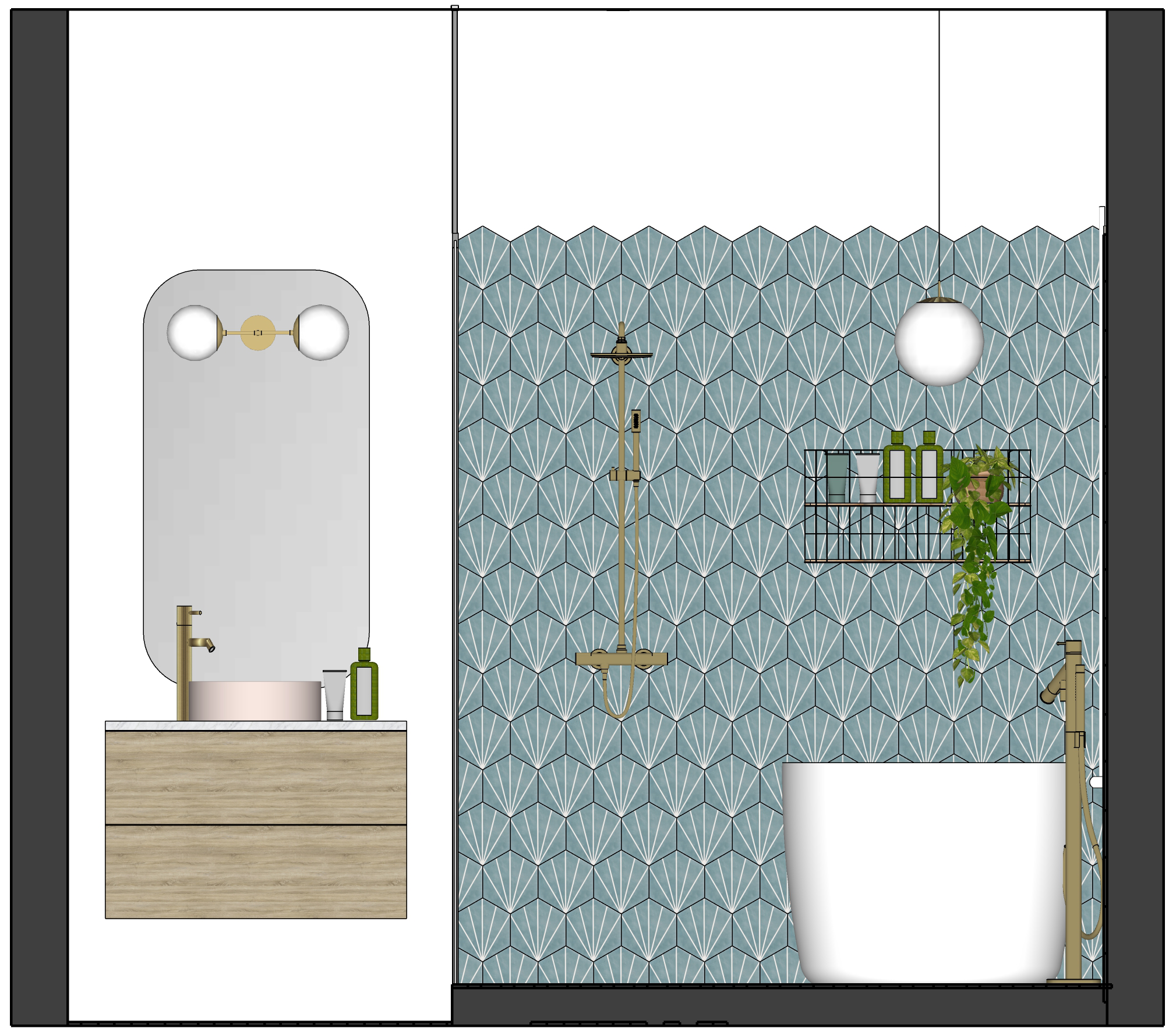 Small Bathroom Elevation to show layout