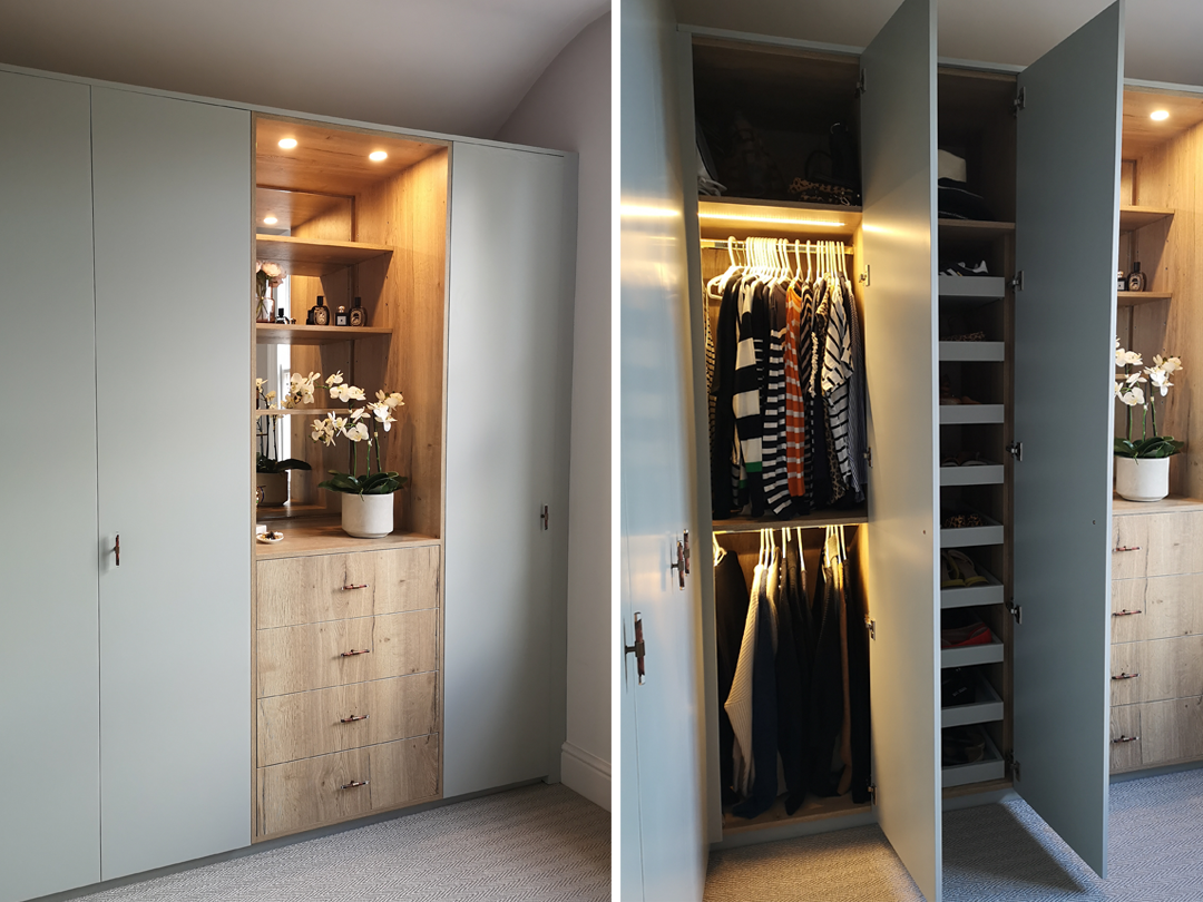 Custom made wardrobes with pull out shoe stories