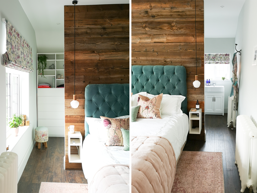 Bedroom with Partition wall and custom cabinetry