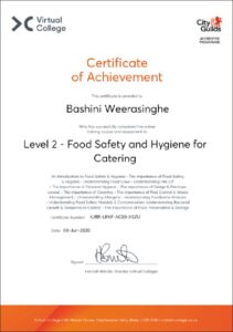 Bashini level 2 food safety and hygiene for catering 2